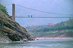 footbridge over the Daning River, Lesser Three Gorges near the Yangtze river in rural China, Asia