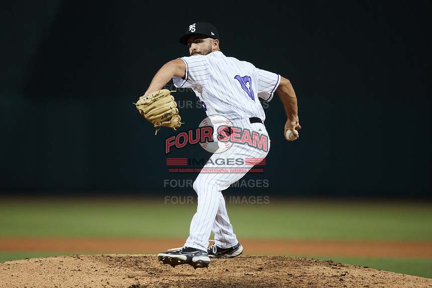 Winston-Salem Dash relief pitcher Vince Arobio (17) in action against the Greensboro Grasshoppers at Truist Stadium on August 13, 2021 in Winston-Salem, North Carolina. (Brian Westerholt/Four Seam Images)
