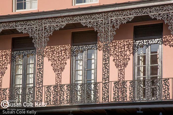 Mills House Hotel, detail of iron work, French Quarter,  Charleston, SC, USA