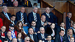 Rangers manager Mark Warburton in the stand on his phone giving instructions