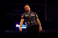 9th October 2021; Morningside Arena, Leicester, England; PDC BoyleSports Darts World Grand Prix finals ; A dejected Gerwen Price as he fails to close out a set