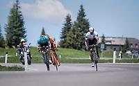 leading trio including Daniel Teklehaimanot (ERI/Dimension Data) descending the Passo Monte Croce Comelico / Kreuzbergpass (1636m)<br /> <br /> Stage 19: San Candido/Innichen › Piancavallo (191km)<br /> 100th Giro d'Italia 2017