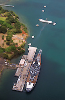 Aerial view of historic landmarks, USS Missouri and USS Arizona Memorial located at Pearl Harbor on Oahu, Hawaii..