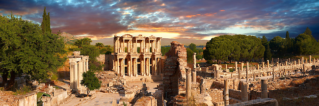 The Library of Celsus & the Agora to the right. Ephesus Archaeological Site, Anatolia, Turkey.