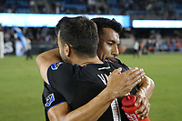 SAN JOSE, CA - AUGUST 24: Vako #11 and \Andres Rios #25 of the San Jose Earthquakes celebrate after a Major League Soccer (MLS) match between the San Jose Earthquakes and the Vancouver Whitecaps FC  on August 24, 2019 at Avaya Stadium in San Jose, California.