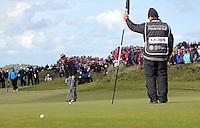 Sunday 31st May 2015; Søren Kjeldsen, Denmark, putts up the 18th green in the playoff<br /> <br /> Dubai Duty Free Irish Open Golf Championship 2015, Round 4 County Down Golf Club, Co. Down. Picture credit: John Dickson / DICKSONDIGITAL