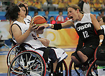 Lisa Franks (12) of Saskatoon tries to get the ball from Megumi Mashiko of Japan in women's wheelchair basketball action at the Paralympic Games in Beijing,Tuesday, Sept., 9, 2008.  Photo by Mike Ridewood/CPC