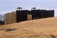 Replica of wooden stockade on the site of the infamous Confederate prisoner of war camp, Andersonville which held thousands of Union soldiers. Georgia