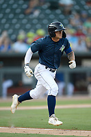 Second baseman Chandler Avant (5) of the Columbia Fireflies runs out a batted ball in a game against the Augusta GreenJackets on Saturday, June 1, 2019, at Segra Park in Columbia, South Carolina. Columbia won, 3-2. (Tom Priddy/Four Seam Images)