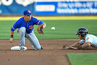 Doug Bernier (7) of the Round Rock Express on defense against the Salt Lake Bees in Pacific Coast League action at Smith's Ballpark on August 13, 2016 in Salt Lake City, Utah. Round Rock defeated Salt Lake 7-3.  (Stephen Smith/Four Seam Images)