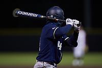 Austin Wilhite (14) of the Georgia Tech Yellow Jackets at bat against the Virginia Tech Hokies at English Field on April 16, 2021 in Blacksburg, Virginia. (Brian Westerholt/Four Seam Images)