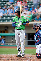 Gwinnett Stripers first baseman Carlos Franco (11) at bat in front of Eric Haase (13) during a game against the Columbus Clippers on May 17, 2018 at Huntington Park in Columbus, Ohio.  Gwinnett defeated Columbus 6-0.  (Mike Janes/Four Seam Images)