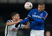 10th February 2021, Goodison Park, Liverpool, England;  Evertons Richarlison challenges for a header with Tottenham Hotspurs Matt Doherty during the FA Cup 5th round match between Everton FC and Tottenham Hotspur FC at Goodison Park