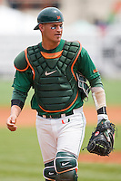 Catcher Yasmani Grandal #24 of the Miami Hurricanes at the 2010 ACC Baseball Tournament at NewBridge Bank Park May 27, 2010, in Greensboro, North Carolina.  The Eagles defeated the Hurricanes 12-10 in 10 innings.  Photo by Brian Westerholt / Four Seam Images