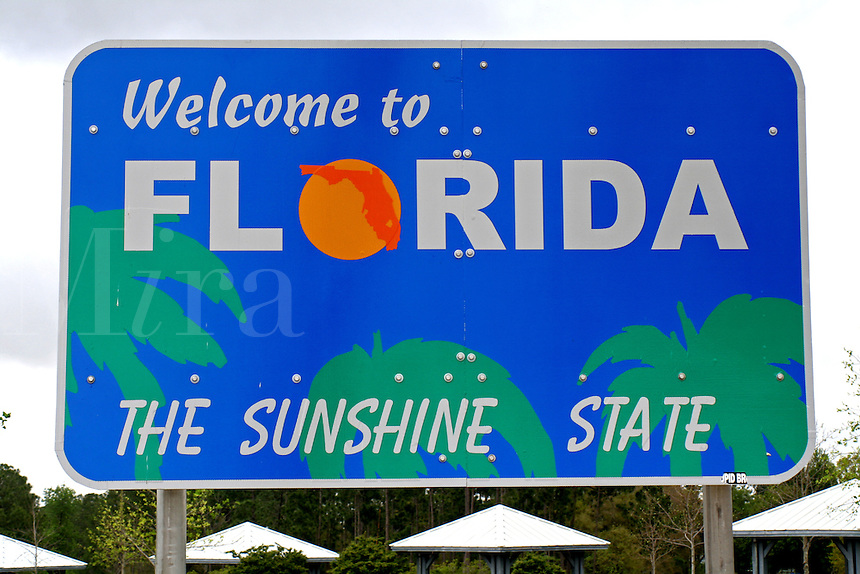 Welcome to Florida the Sunshine State highway sign Gulf Breeze Florida