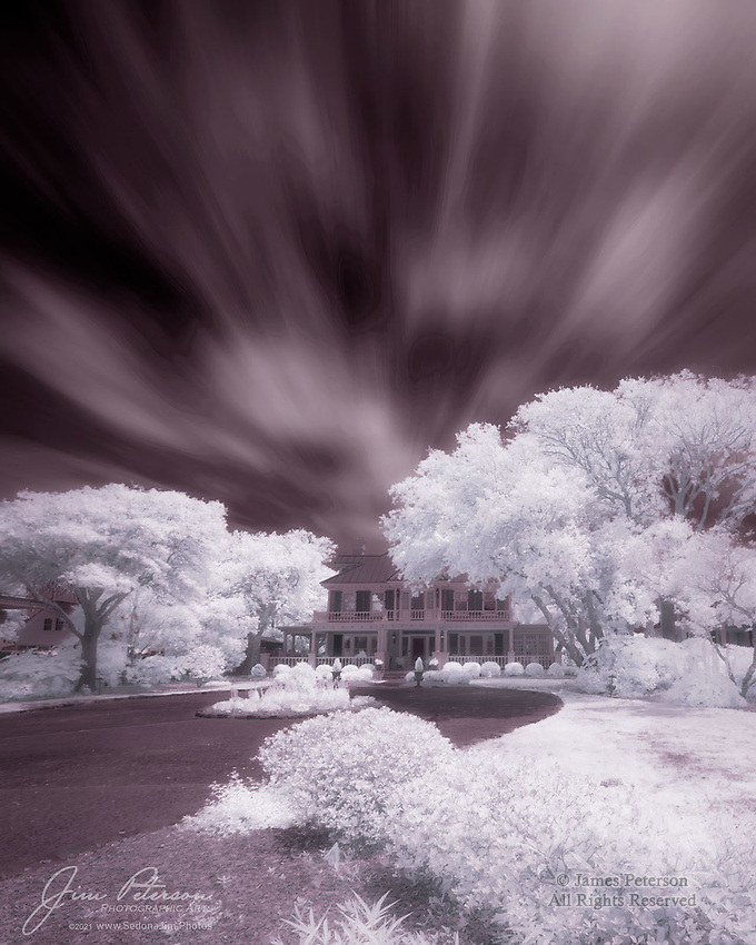 """Mansion on Front Street (Infrared).  Beaufort is said to be the fourth oldest town in North Carolina, and was once also ranked as """"America's Coolest Small Town"""" by Budget Travel Magazine.  So we expected to find some cool and historic sites there, and we weren't disappointed.  This classic Southern mansion is across the street from the town's waterfront and has a fine view of Taylor Creek and Carrot Island.  And the lush foliage really glows for you, if you have infrared eyes.<br /> <br /> Image ©2021 James D. Peterson<br /> <br /> Tech info: Nikon D3200 camera with Nikon 10-24mm lens at 10mm, 1/160 sec. at f11, ISO 100.  Three vertically stacked images stitched with PTGui Panorama software."""
