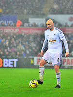 Pictured: Friday 26 December 2014<br /> Re: Premier League, Swansea City FC v Aston Villa at the Liberty Stadium, Swansea, south Wales, UK.<br /> <br /> swansea...sport..swansea v aston villa...friday 26th december 2014...<br /> <br /> <br /> Swansea's Jonjo Shelvey