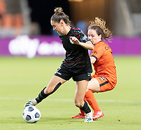 HOUSTON, TX - SEPTEMBER 10: Morgan Gautrat #13 of the Chicago Red Stars attempts to keep the ball away from Allysha Chapman #2 of the Houston Dash during a game between Chicago Red Stars and Houston Dash at BBVA Stadium on September 10, 2021 in Houston, Texas.