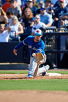 Toronto Blue Jays first baseman Cavan Biggio (67) stretches to receive a throw during a Grapefruit League Spring Training game against the New York Yankees on February 25, 2019 at George M. Steinbrenner Field in Tampa, Florida.  Yankees defeated the Blue Jays 3-0.  (Mike Janes/Four Seam Images)