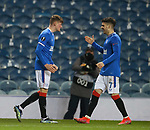 25.02.2021 Rangers v Royal Antwerp: Nathan Patterson accepts the acclaim from his Rangers team mates after scoring