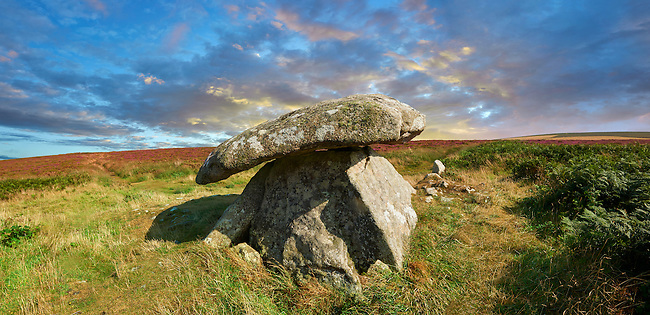 Chun or Chûn, Quoit is a megalithic burial dolmen from the Neolithic period, circa 2400 BC, near Morvah on the Chun Nature Reserve, Penwith peninsula, Cornwall, England