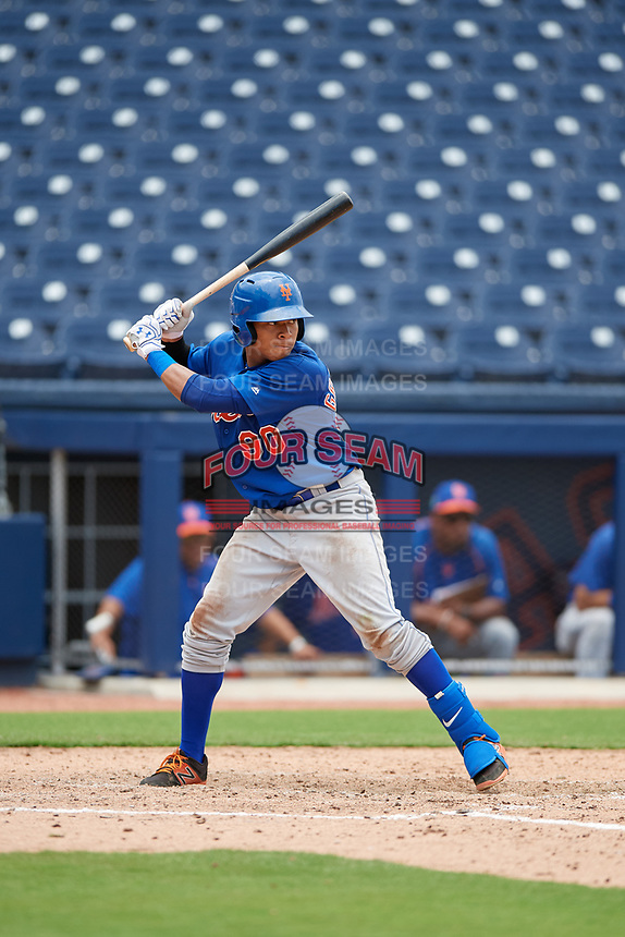 GCL Mets center fielder Guillermo Granadillo (90) at bat during the second game of a doubleheader against the GCL Nationals on July 22, 2017 at The Ballpark of the Palm Beaches in Palm Beach, Florida.  GCL Mets defeated the GCL Nationals 4-1.  (Mike Janes/Four Seam Images)