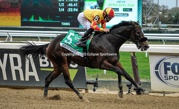 October 10, 2020: Dayoutoftheoffice, ridden by Junior Alvarado, wins the 2020 running of the G1 Frizette S. at Belmont Park in Elmont, NY. Sophie Shore/ESW/CSM