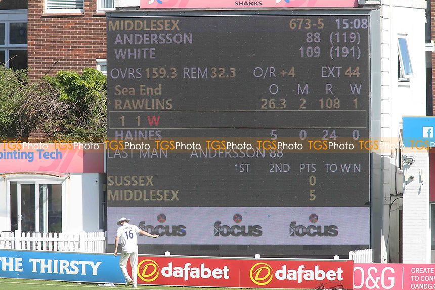 The scoreboard displays the score as Middlesex declare during Sussex CCC vs Middlesex CCC, LV Insurance County Championship Division 3 Cricket at The 1st Central County Ground on 7th September 2021