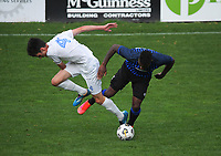 Olympic's Dylan Wood and Miramar's Joao Moreira compete for the ball during the Central League football match between Miramar Rangers and Wellington Olympic AFC at David Farrington Park in Wellington, New Zealand on Saturday, 29 May 2021. Photo: Dave Lintott / lintottphoto.co.nz
