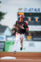 Batavia Muckdogs third baseman Tyler Curtis (11) running the bases during a game against the Mahoning Valley Scrappers on August 18, 2017 at Dwyer Stadium in Batavia, New York.  Mahoning Valley defeated Batavia 8-2.  (Mike Janes/Four Seam Images)