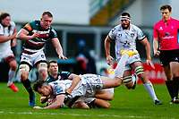 21st November 2020; Welford Road Stadium, Leicester, Midlands, England; Premiership Rugby, Leicester Tigers versus Gloucester Rugby; Mark Atkinson of Gloucester Rugby is brought down by Richard Wigglesworth of Leicester Tigers