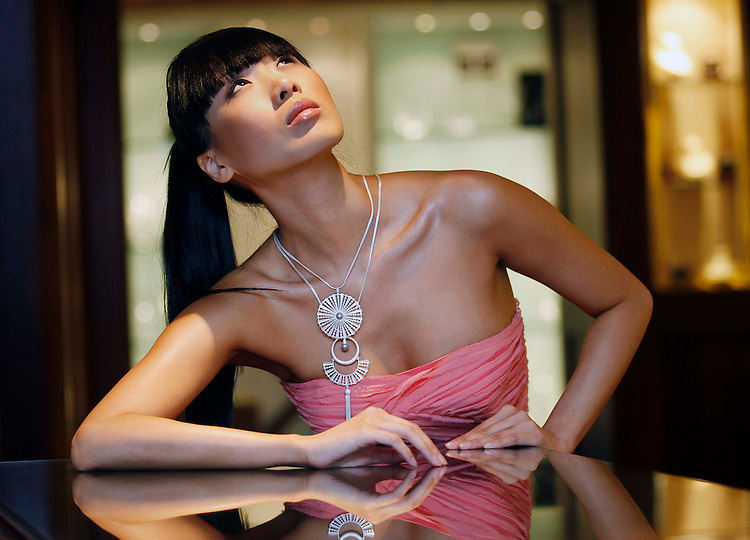 Model, Yomiko Chen pictured here wearing a selection of Irish Fashion Designer, Deborah Veale's  Jewellery at the official launch of the designers first jewellery collection held in Weir & Son Jewellers, Grafton Street, Dublin. Pic. Robbie Reynolds...