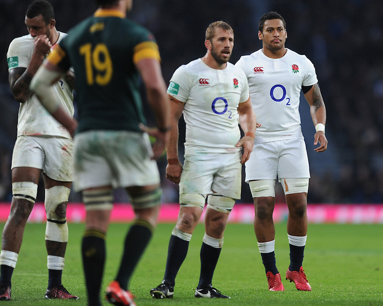 Chris Robshaw and Nathan Hughes of England  during the Old Mutual Wealth Series match between England and South Africa at Twickenham Stadium on Saturday 12th November 2016 (Photo by Rob Munro)