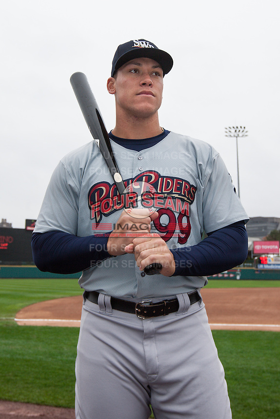 Aaron Judge (99) of the Scranton/Wilkes-Barre RailRiders poses for a photo before a game against the Rochester Red Wings on May 1, 2016 at Frontier Field in Rochester, New York. Rochester defeated Scranton 1-0.  (Christopher Cecere/Four Seam Images)