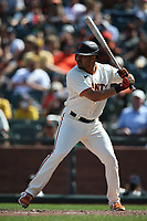 SAN FRANCISCO, CA - JULY 25: LaMonte Wade Jr. #31 of the San Francisco Giants bats against the Pittsburgh Pirates during the game at Oracle Park on Sunday, July 25, 2021 in San Francisco, California. (Photo by Brad Mangin)