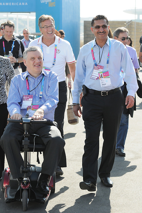Henry Storgaard, David Onley, and Bal Gossal, Guadalajara 2011.<br /> Highlights from a VIP visit to the Athletes Village // Faits saillants d'une visite VIP au Village des athlètes. 11/18/2011.
