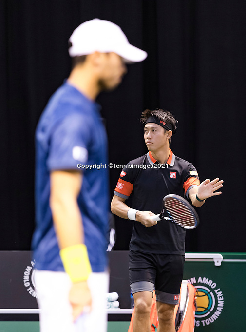 Rotterdam, The Netherlands, 2 march  2021, ABNAMRO World Tennis Tournament, Ahoy, First round doubles: Ben Mclachlan (JPN) / Kei Nishikori (JPN) <br /> Photo: www.tennisimages.com/henkkoster