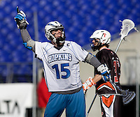 Michael Kimmel (15) of Johns Hopkins celebrates a goal during the Face-Off Classic in at M&T Stadium in Baltimore, MD