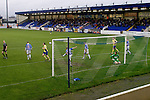 Chester City 1 Altrincham 3, 21/11/2009. Deva Stadium, Football Conference. The visitors take the lead with their first goal during the first-half at the Deva Stadium, Chester, home of Chester City Football Club (in blue), during the club's Blue Square Premier fixture against Cheshire rivals Altrincham, as the visitors celebrate with their flags. The visitors won by three goals to one. Chester were in administration at the start of the season and were penalised 25 points before the season began. Photo by Colin McPherson.