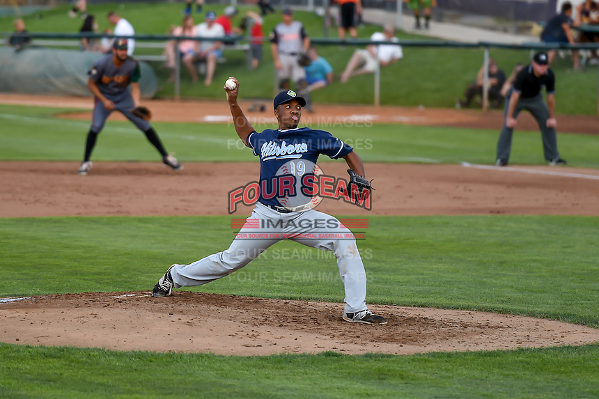 Northwest League All-Star Tyler Mark (19) of the Hillsboro Hops delivers a pitch to the plate against the Pioneer League All-Stars at the 2nd Annual Northwest League-Pioneer League All-Star Game at Lindquist Field on August 2, 2016 in Ogden, Utah. The Northwest League defeated the Pioneer League 11-5. (Stephen Smith/Four Seam Images)