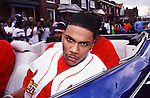"""Nelly aka Cornell Iral Haynes, Jr. on the set of the """"Country Grammar"""" video shoot in St. Louis, MO., in March 1999.  Photo credit:  Presswire News/Elgin Edmonds"""