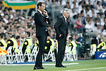 Real Madrid's coach Carlo Ancelotti (r) and Juventus' coach Massimiliano Allegri during Champions League 2014/2015 Semi-finals 2nd leg match.May 13,2015. (ALTERPHOTOS/Acero)