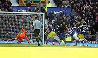 Pictured: Leighton Baines of Everton (20) closely marked by Jose Canas of Swansea (R) takes a shot, goalkeeper Gerhard Tremmel (L) dives. Sunday 16 February 2014<br /> Re: FA Cup, Everton v Swansea City FC at Goodison Park, Liverpool, UK.