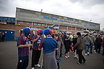 Sheffield Wednesday 2 Crystal Palace 2, 02/05/2010. Hillsborough. Championship. Three Crystal Palace fans wearing coloured wigs pictured outside Hillsborough before their team's crucial last-day relegation match against Sheffield Wednesday. The match ended in a 2-2 draw which meant Wednesday were relegated to League 1. Crystal Palace remained in the Championship despite having been deducted 10 points for entering administration during the season. Photo by Colin McPherson.