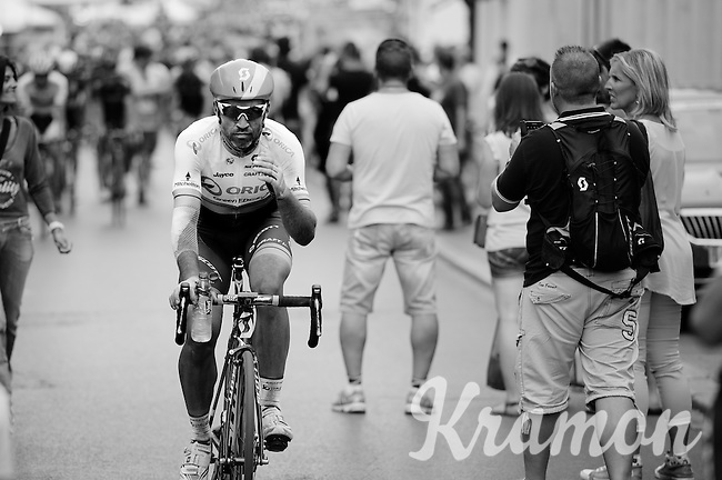 Michael Albasini (SUI/Orica-GreenEDGE) returning to the teambus post-race<br /> <br /> stage 4: Seraing (BEL) - Cambrai (FR) <br /> 2015 Tour de France