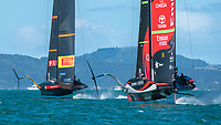 15th March 2021; Waitemata Harbour, Auckland, New Zealand;  Luna Rossa Prada Pirelli Team and Emirates Team New Zealand race seven on day five of the America's Cup presented by Prada