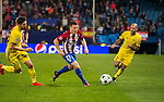 Kevin Gameiro of Atletico de Madrid fights for the ball with Miha Mevlja (l) and Timofei Kalachev of FC Rostov during their 2016-17 UEFA Champions League match between Atletico Madrid and FC Rostov at the Vicente Calderon Stadium on 01 November 2016 in Madrid, Spain. Photo by Diego Gonzalez Souto / Power Sport Images