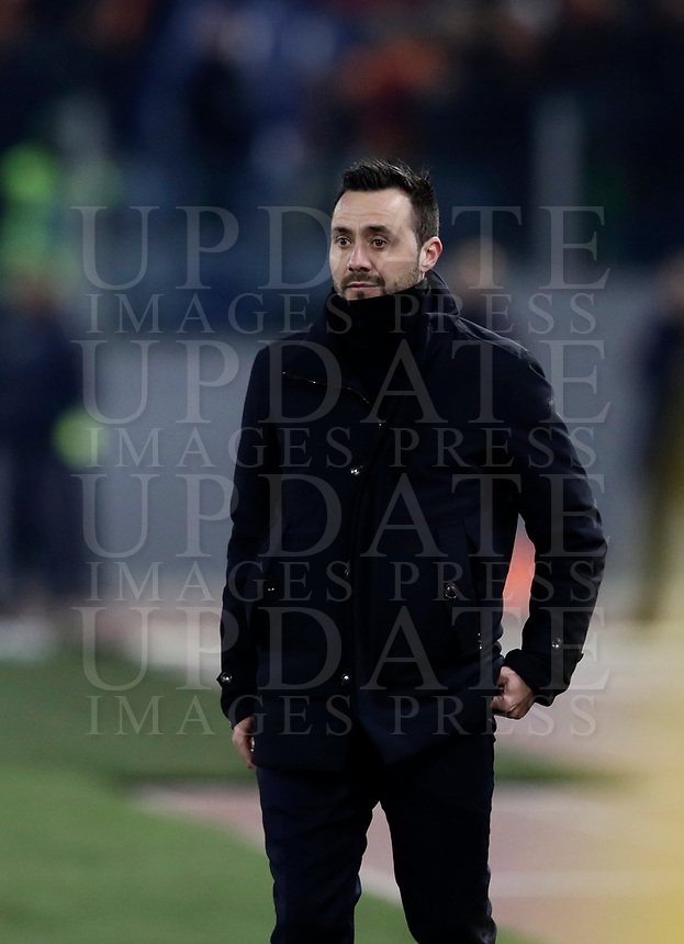 Calcio, Serie A: AS Roma - Benevento, Roma, stadio Olimpico, 11 gennaio 2018.<br /> Benevento's coach Roberto De Zerbi looks on during the Italian Serie A football match between AS Roma and Benevento at Rome's Olympic stadium, February 11, 2018.<br /> UPDATE IMAGES PRESS/Isabella Bonotto