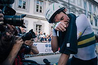 First post-finish emotions by Rohan Dennis (AUS/BMC) who is the new TT World Champion by being faster than Dumoulin and Campenaerts (and all the other riders) over the 52km course<br /> <br /> MEN ELITE INDIVIDUAL TIME TRIAL<br /> Hall-Wattens to Innsbruck: 52.5 km<br /> <br /> UCI 2018 Road World Championships<br /> Innsbruck - Tirol / Austria