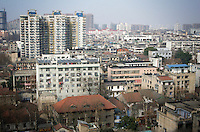 CHINA. Hubei Province. Wuhan. A view from The Yellow Crane Tower which looks over the Yangtze and the city of Wuhan.Wuhan (population 4.3 million) is a sprawling city that sits on both sides of the Yangtze River.  2008.